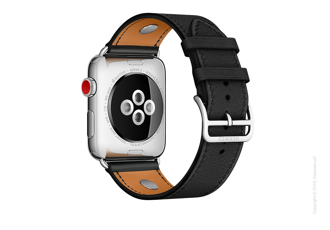 Apple Watch Hermès: ремешок Simple Tour Médor из кожи Swift цвета Noir 42 мм