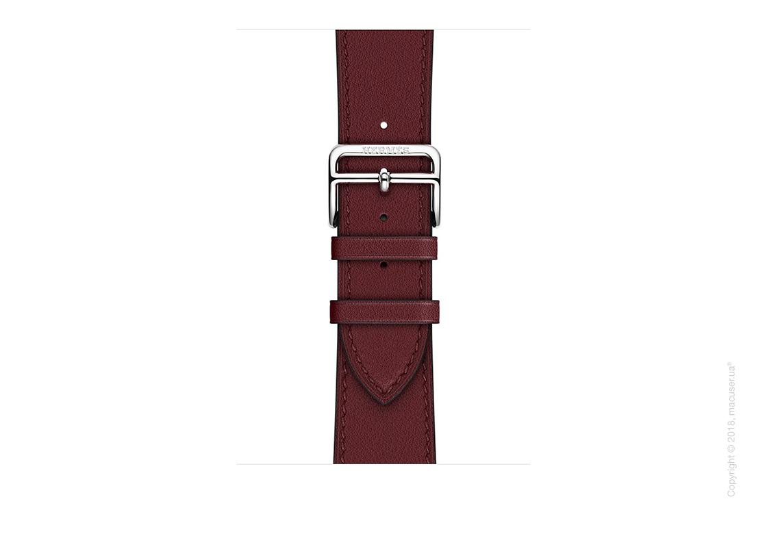 Apple Watch Hermès: ремешок Simple Tour из кожи Swift цвета Bordeaux 38 мм