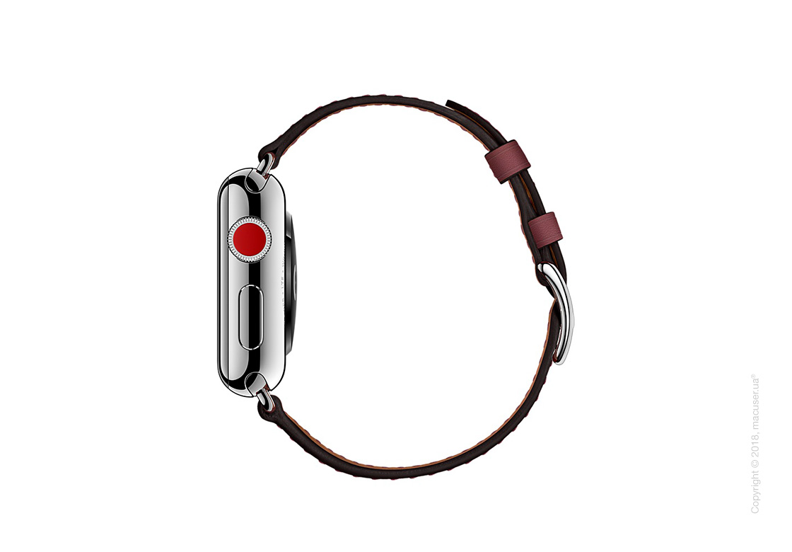 Apple Watch Hermès: ремешок Simple Tour из кожи Swift цвета Bordeaux 38 мм