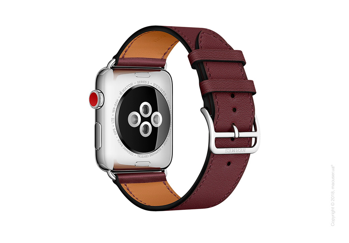 Apple Watch Hermès: ремешок Simple Tour из кожи Swift цвета Bordeaux 42 мм