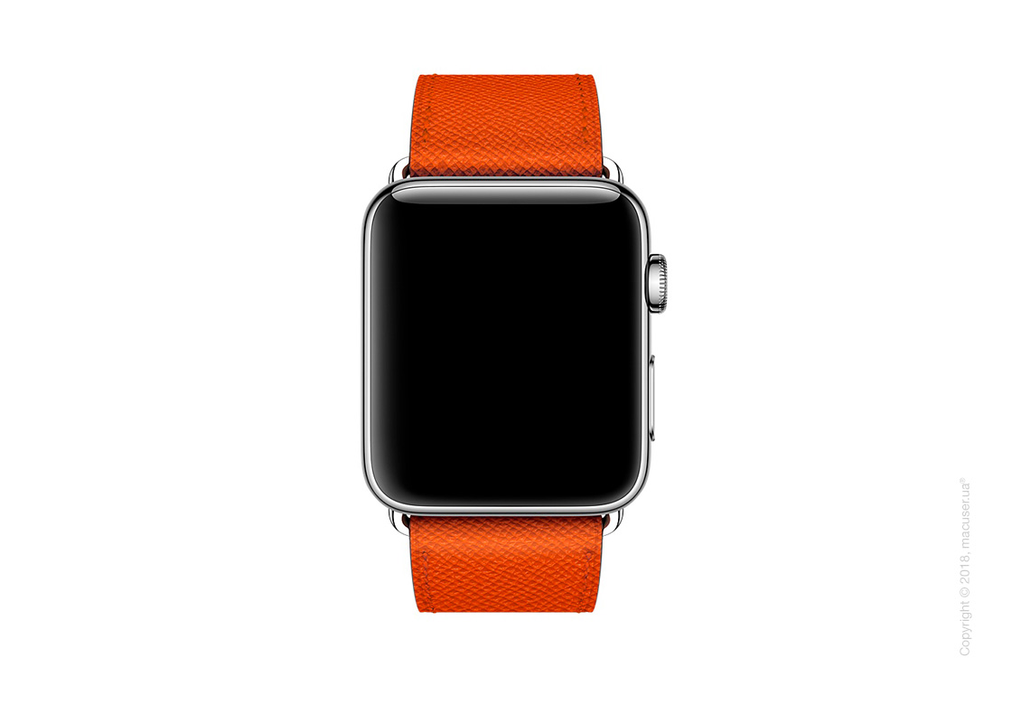 Apple Watch Hermès: ремешок Simple Tour из кожи Epsom цвета Feu 42 мм
