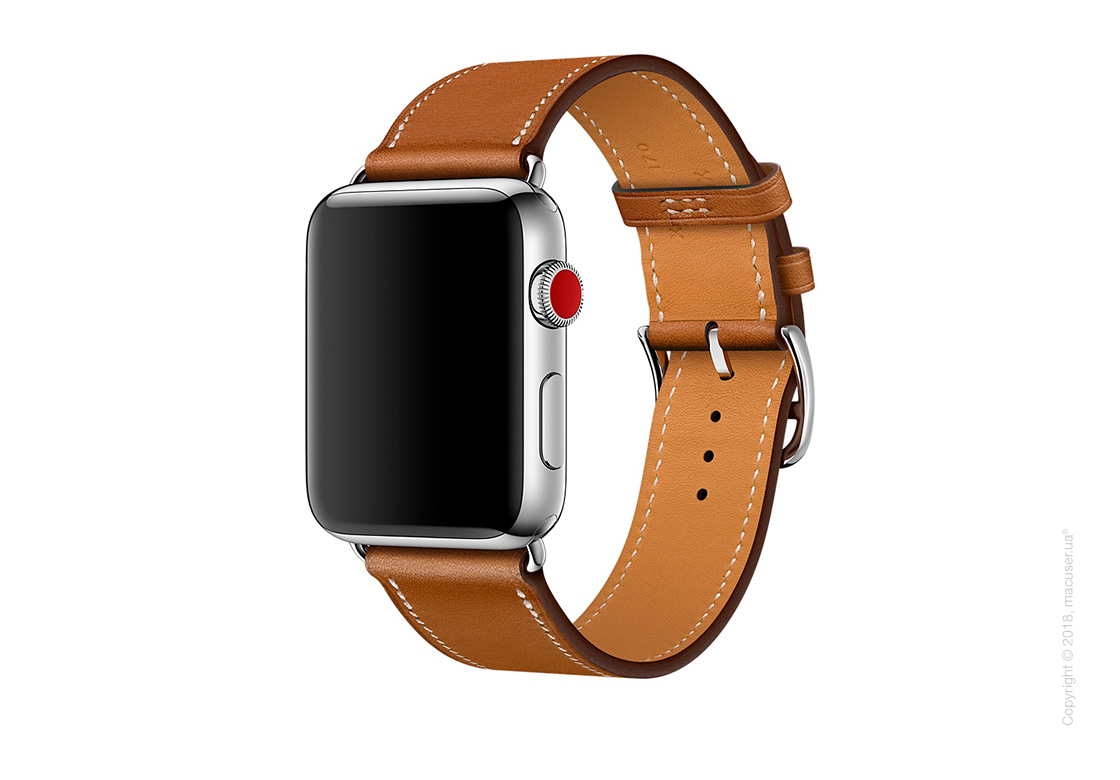 Apple Watch Hermès: ремешок Simple Tour из кожи Barénia цвета Fauve 42 мм