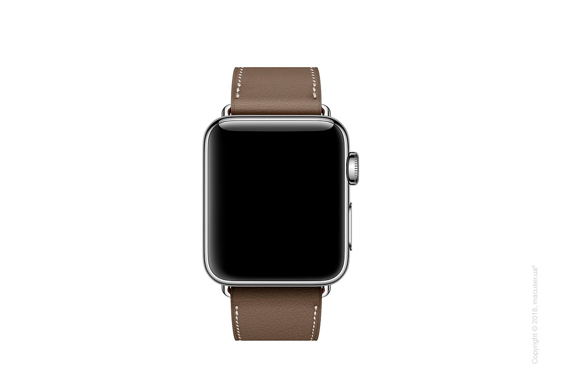 Apple Watch Hermès: ремешок Simple Tour из кожи Swift цвета Étoupe 38 мм
