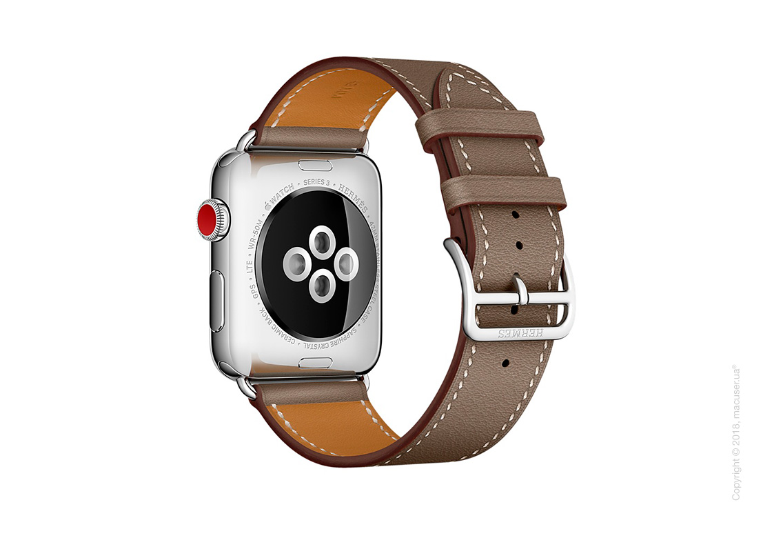 Apple Watch Hermès: ремешок Simple Tour из кожи Swift цвета Étoupe 42 мм