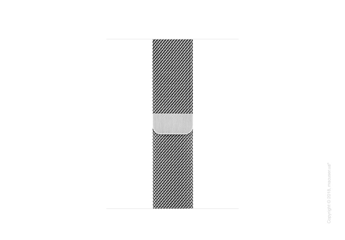 Миланский сетчатый браслет серебристого цвета 38 мм