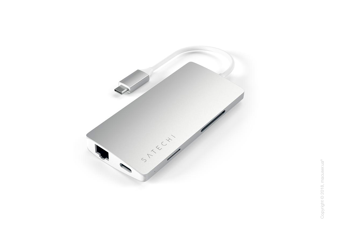Satechi  TYPE-C MULTI-PORT ADAPTER 4K WITH ETHERNET V2 Silver