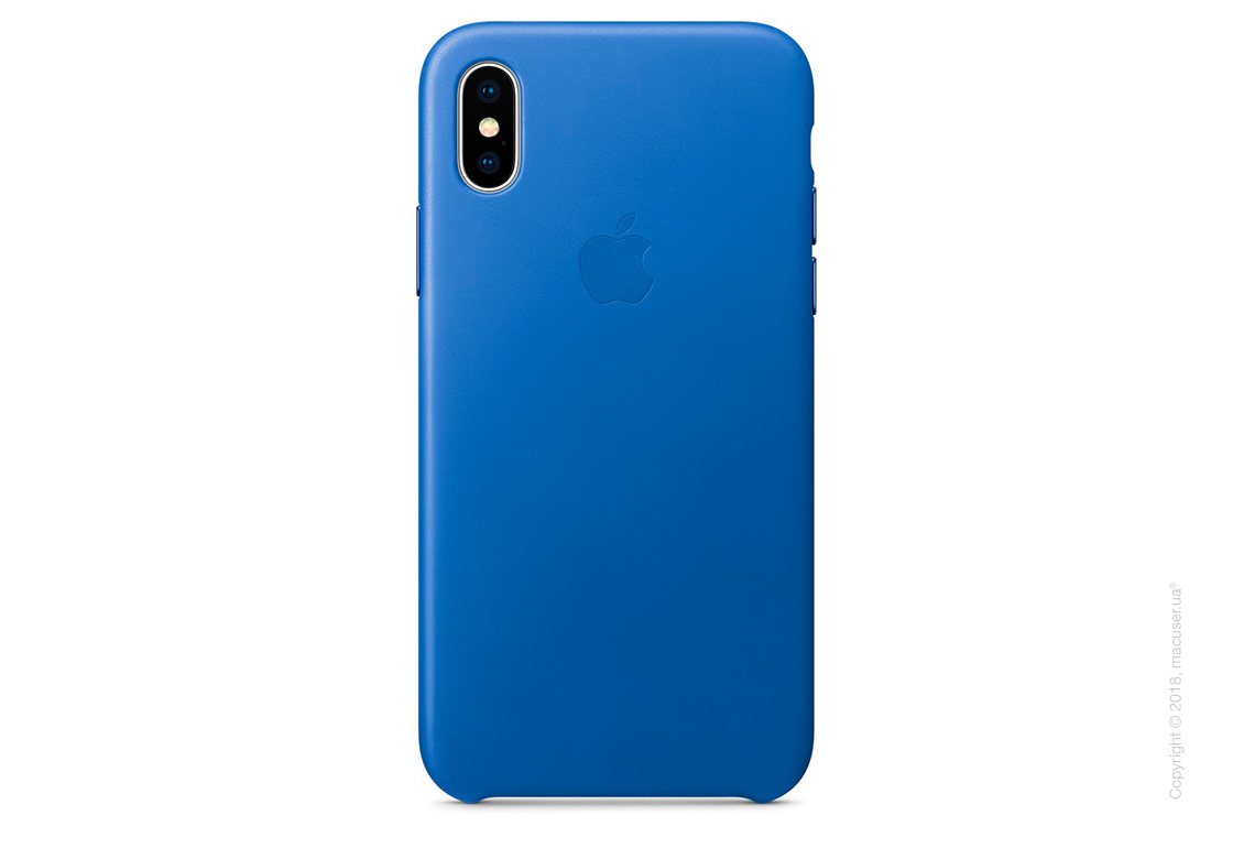 Чехол iPhone X Leather Case - Electric Blue