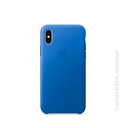 Чехол iPhone X Leather Case - Electric Blue