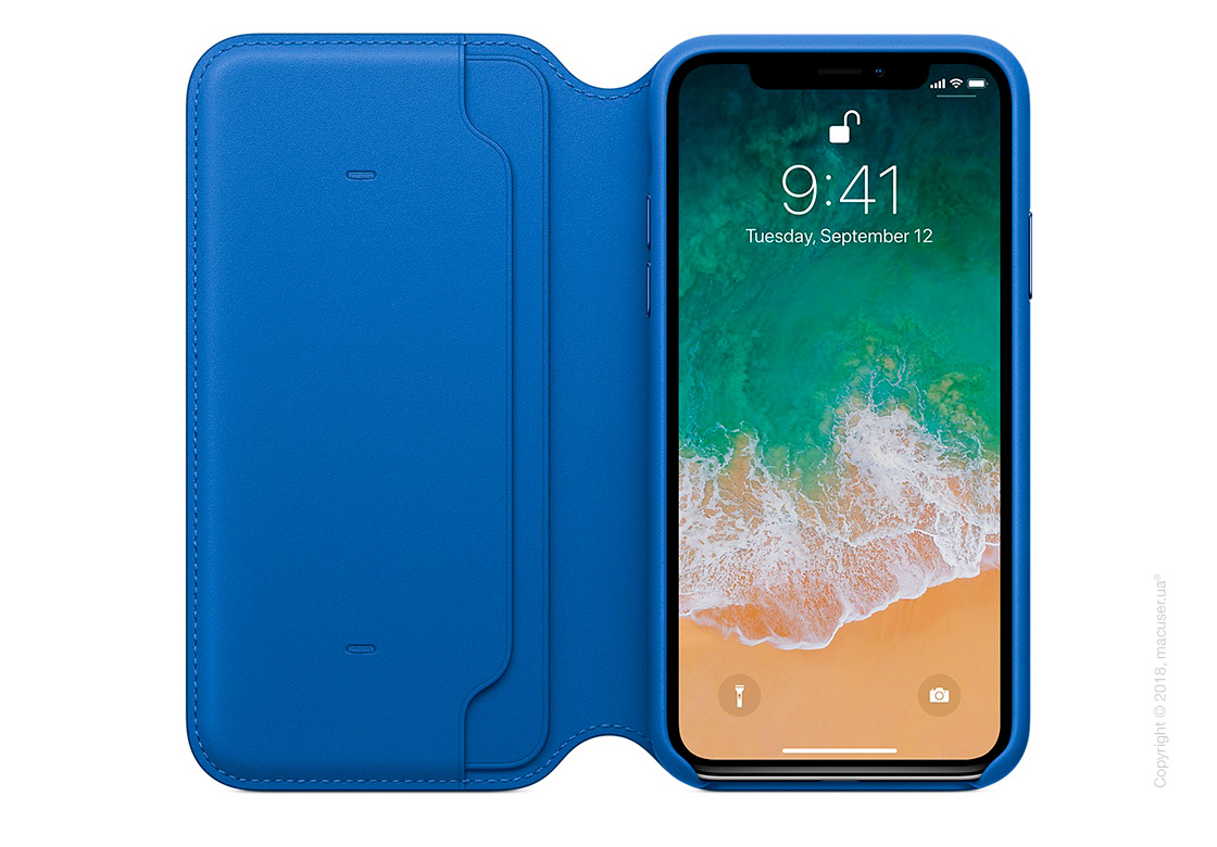 Чехол iPhone X Leather Folio - Electric Blue