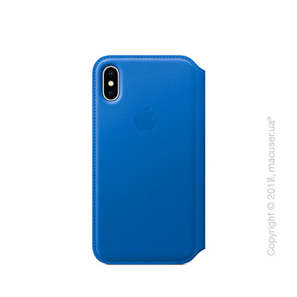 Чехол iPhone X Leather Folio - Electric Blue