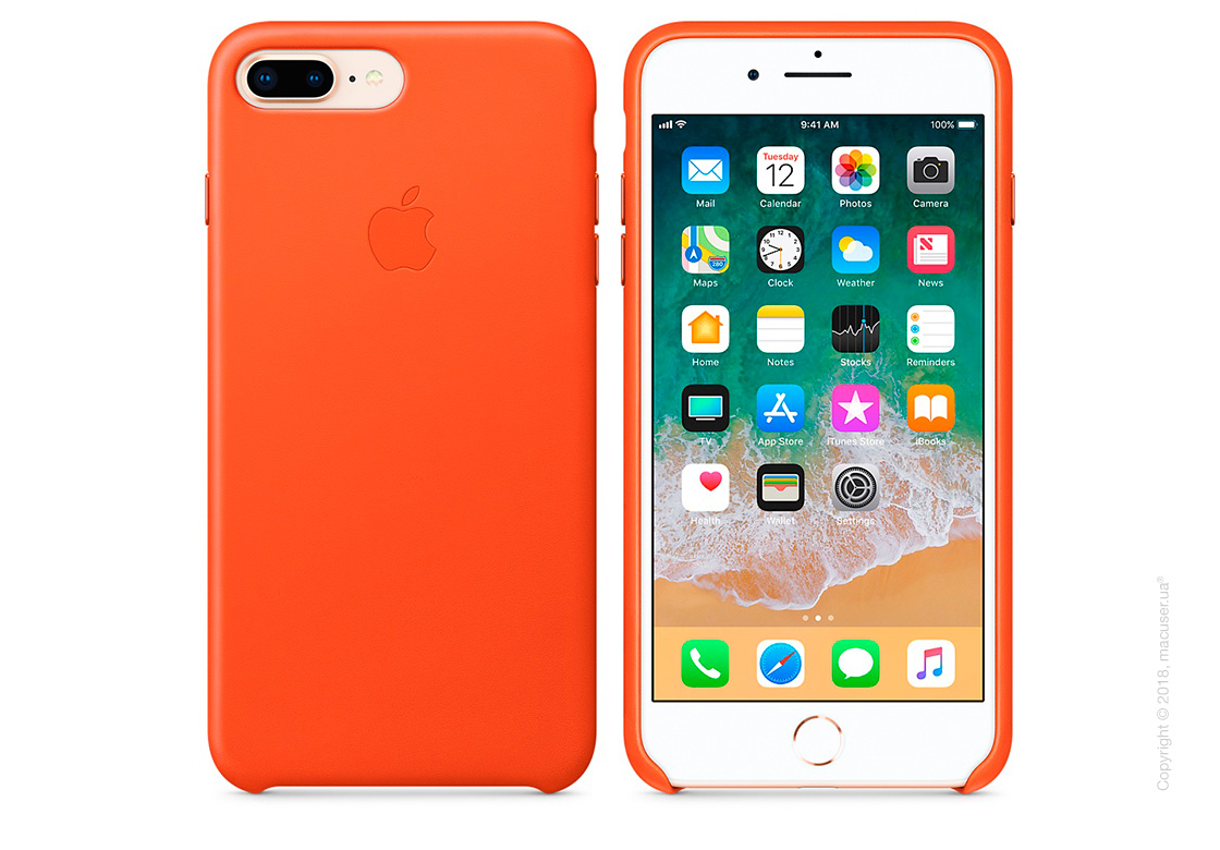 Чехол Apple iPhone 8 Plus/7 Plus  Leather Case, Bright Orange
