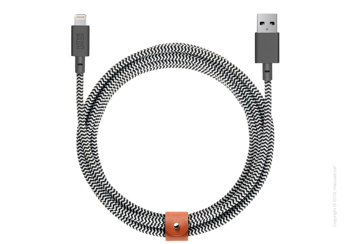 Кабель Native Union Belt XL Lightning to USB 3m – Zebra