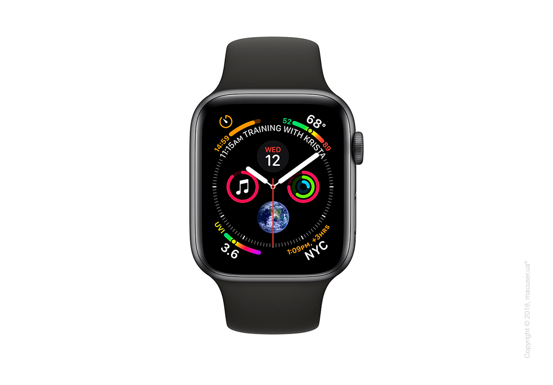 Apple Watch Series 4 GPS + Cellular 44mm Space Gray Aluminum Case with Black Sport Band