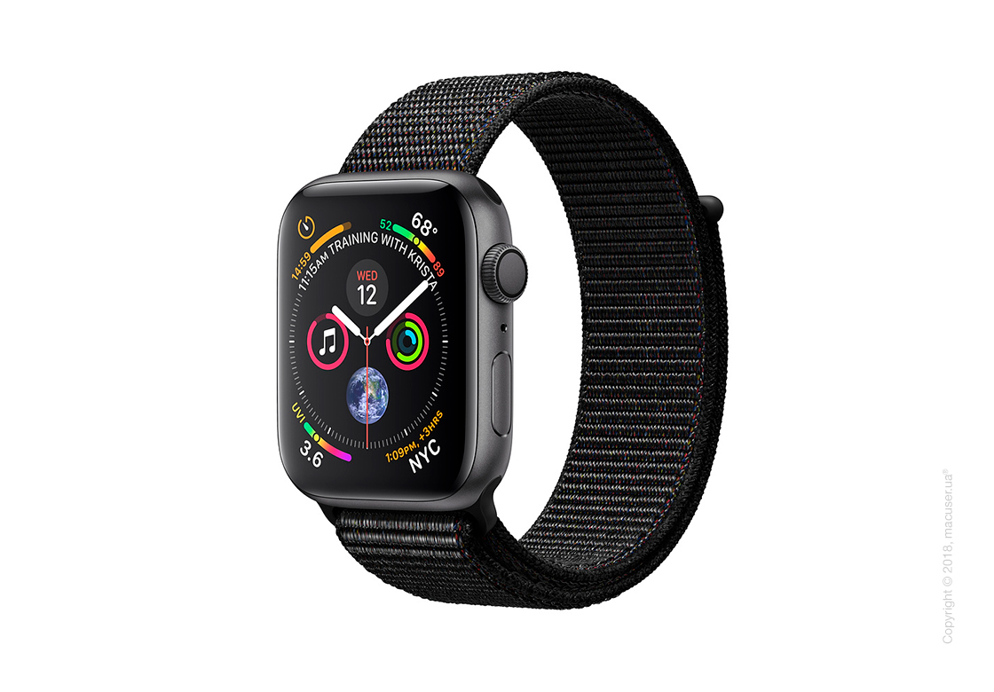 Apple Watch Series 4 GPS 44mm Space Gray Aluminum Case with Black Sport Loop