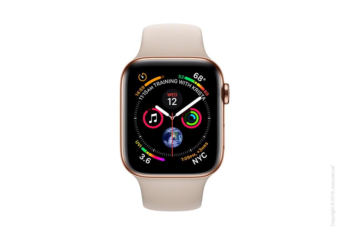 Apple Watch Series 4 GPS + Cellular 40mm Gold Stainless Steel Case with Stone Sport Band