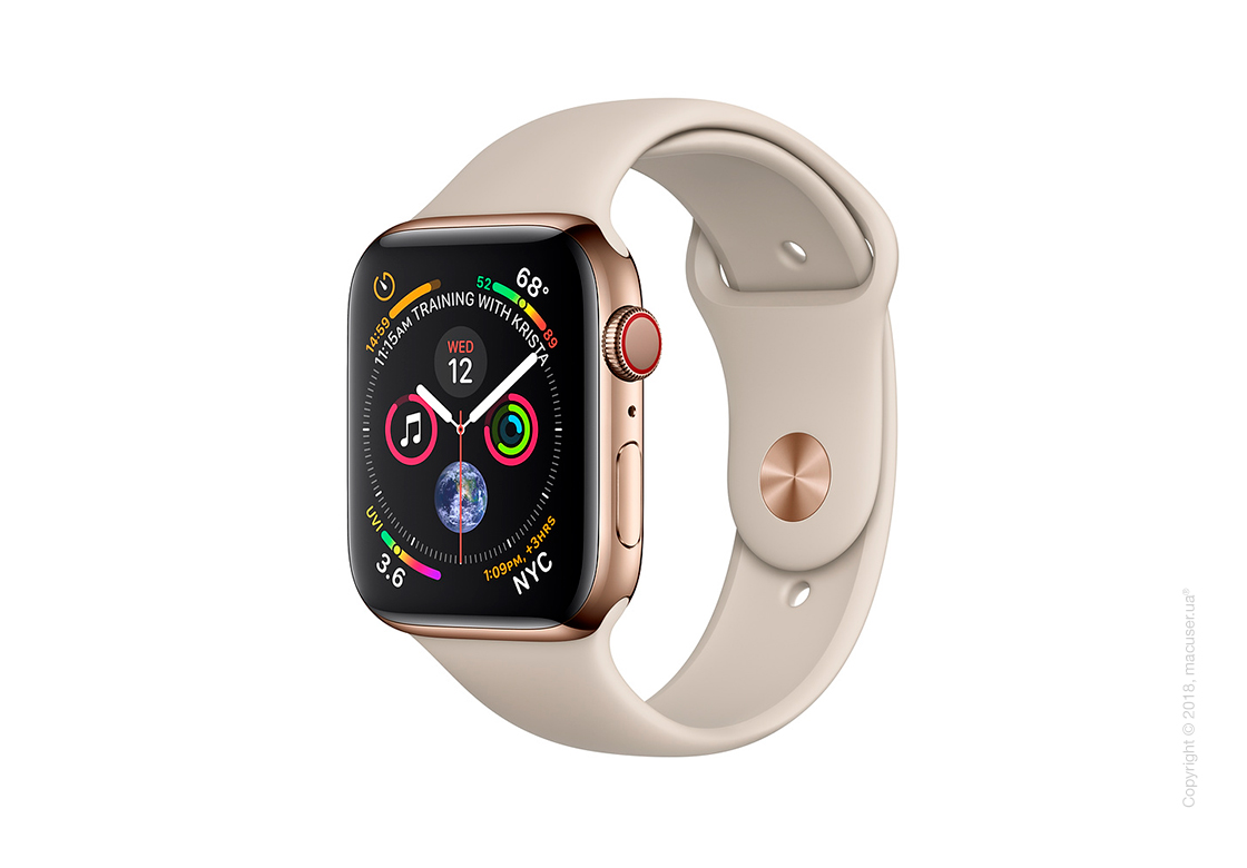 Apple Watch Series 4 GPS + Cellular 44mm Gold Stainless Steel Case with Stone Sport Band