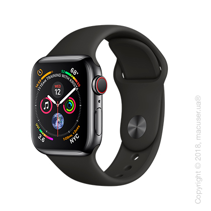 Apple Watch Series 4 GPS + Cellular 40mm Space Black Stainless Steel Case with Black Sport Band