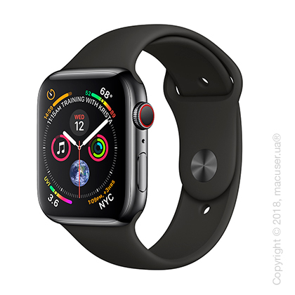 Apple Watch Series 4 GPS + Cellular 44mm Space Black Stainless Steel Case with Black Sport Band