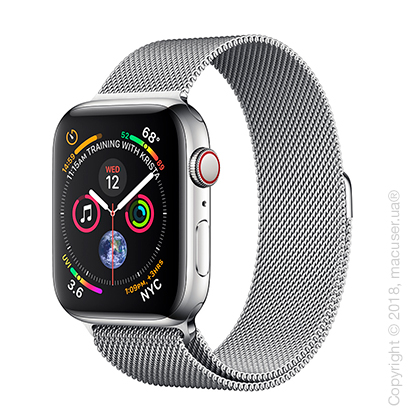 Apple Watch Series 4 GPS + Cellular 44mm Stainless Steel Case with Milanese Loop