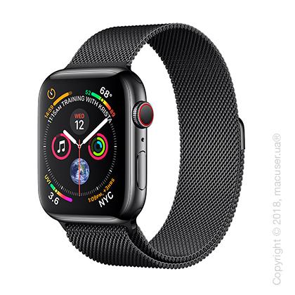 Apple Watch Series 4 GPS + Cellular 44mm Space Black Stainless Steel Case with Space Black Milanese Loop