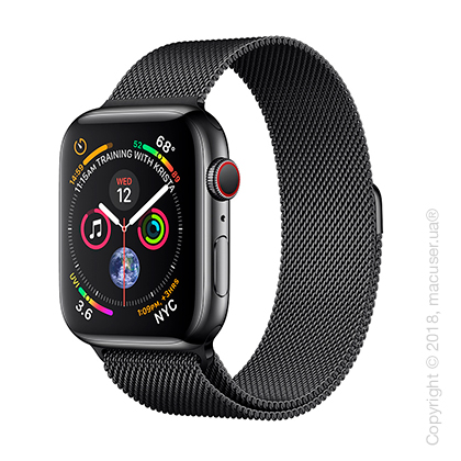 Apple Watch Series 4 GPS + Cellular 44mm Space Black Stainless Steel Case with Space Black Milanese Loop