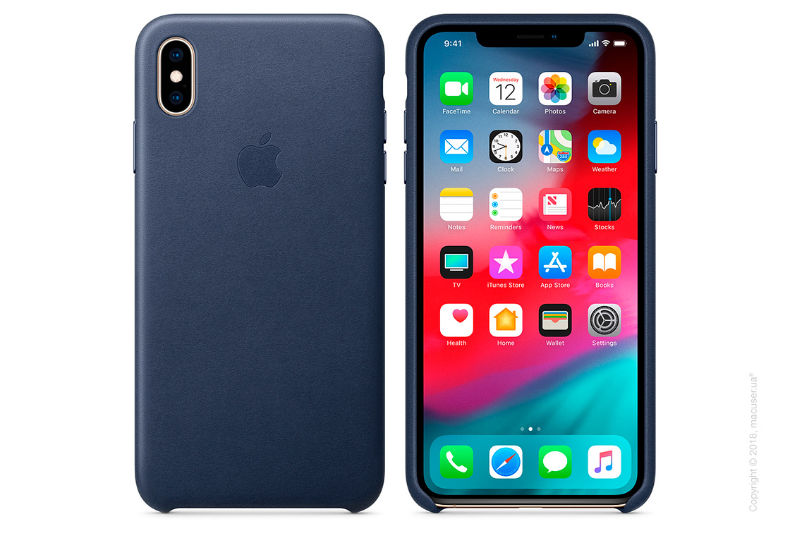 iPhone Xs Max Leather Case - Midnight Blue