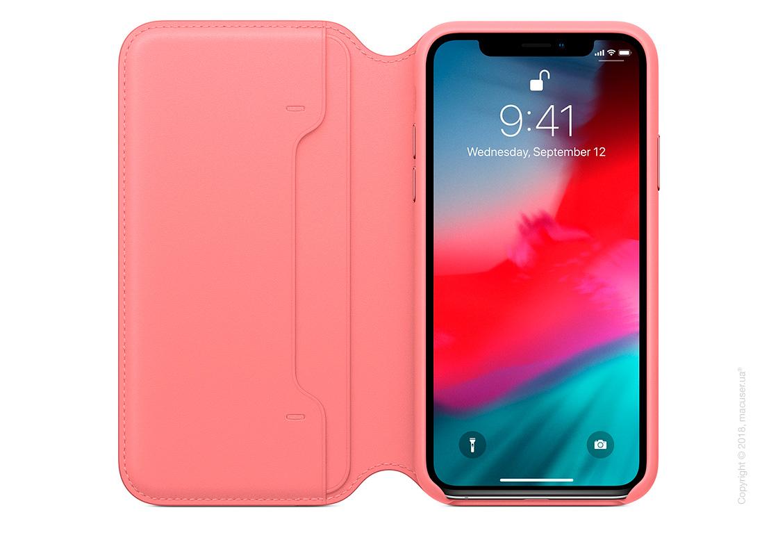 iPhone Xs Leather Folio - Peony Pink