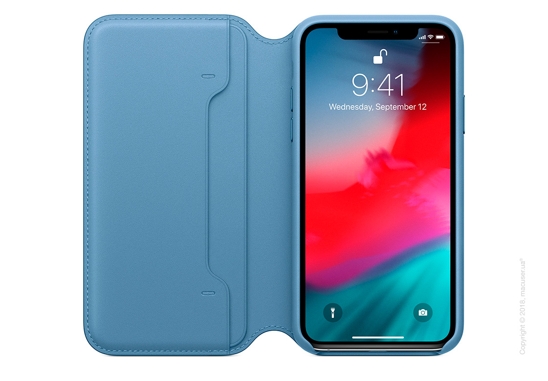 iPhone Xs Leather Folio - Cape Cod Blue