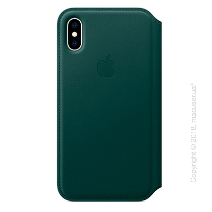 iPhone Xs Leather Folio - Forest Green