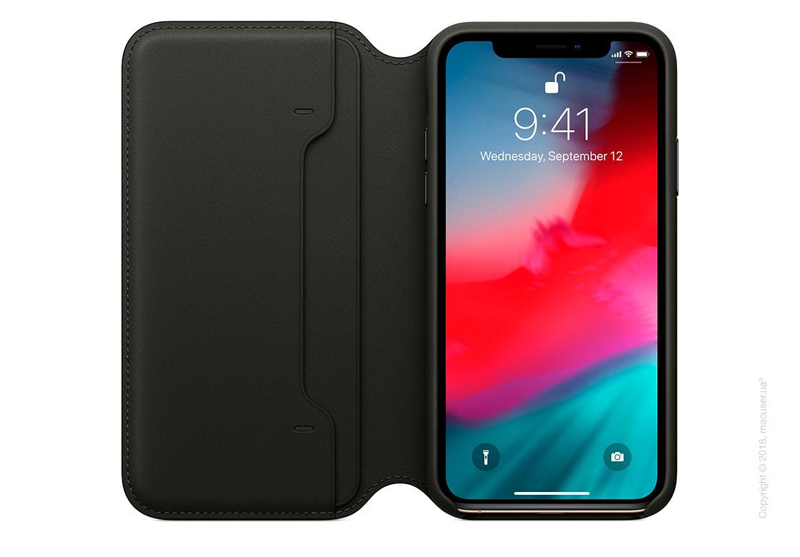 iPhone Xs Leather Folio - Black