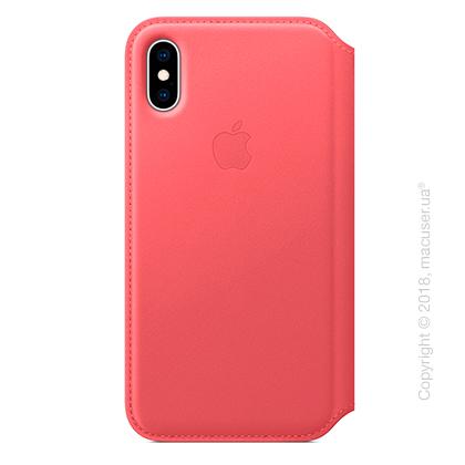 iPhone Xs Max Leather Folio - Peony Pink