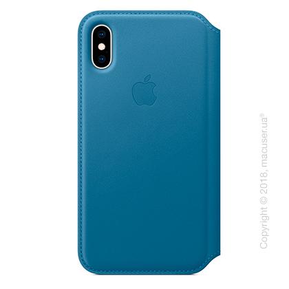iPhone Xs Max Leather Folio - Cape Cod Blue