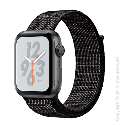 Apple Watch Series 4 GPS 44mm Space Gray Aluminum Case with Black Nike Sport Loop