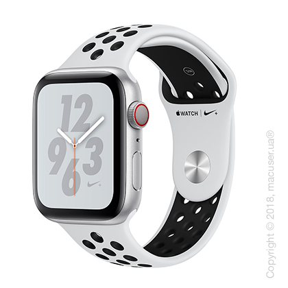 Apple Watch Series 4 GPS + Cellular 44mm Silver Aluminum Case with Pure Platinum/Black Nike Sport Band