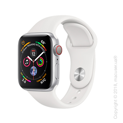 Apple Watch Series 4 GPS + Cellular 40mm Silver Aluminum Case with White Sport Band