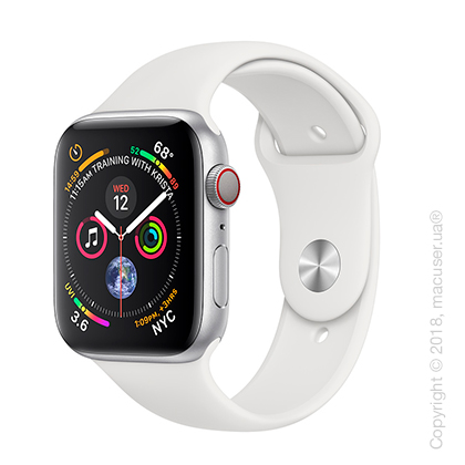 Apple Watch Series 4 GPS + Cellular 44mm Silver Aluminum Case with White Sport Band