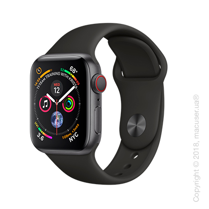 Apple Watch Series 4 GPS + Cellular 40mm Space Gray Aluminum Case with Black Sport Band
