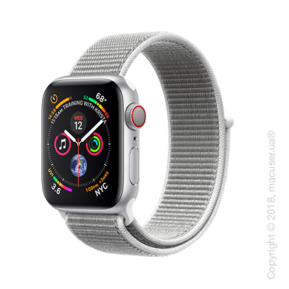 Apple Watch Series 4 GPS + Cellular 40mm Silver Aluminum Case with Seashell Sport Loop