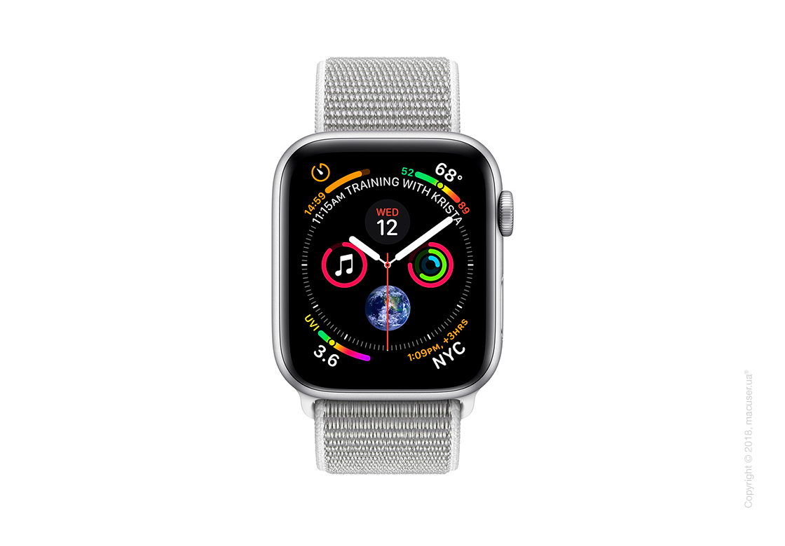 Apple Watch Series 4 GPS + Cellular 44mm Silver Aluminum Case with Seashell Sport Loop