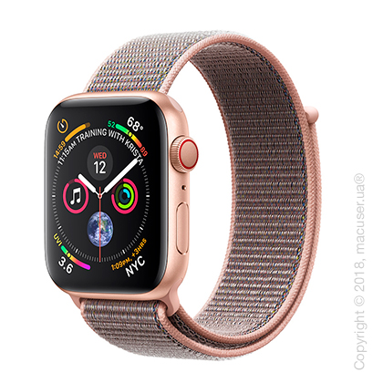 Apple Watch Series 4 GPS + Cellular 44mm Gold Aluminum Case with Pink Sand Sport Loop