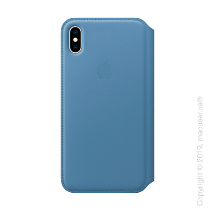 iPhone Xs Leather Folio - Cornflower