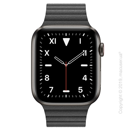 Apple Watch Edition GPS + Cellular, 44mm Space Black Titanium Case with Black Leather Loop - Medium