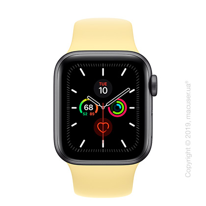 Apple Watch Series 5 GPS, 40mm Space Gray Aluminum Case with Lemon Cream Sport Band