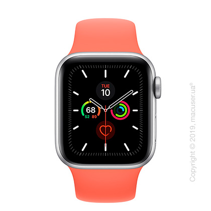 Apple Watch Series 5 GPS, 40mm Silver Aluminum Case with Clementine Sport Band