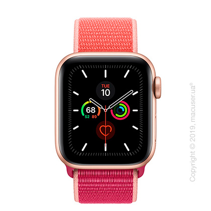 Apple Watch Series 5 GPS, 40mm Gold Aluminum Case with Pomegranate Sport Loop