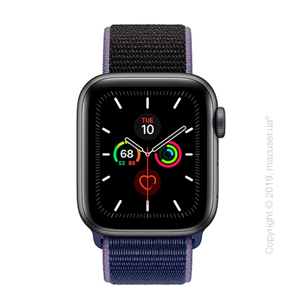 Apple Watch Series 5 GPS, 40mm Space Gray Aluminum Case with Midnight Blue Sport Loop