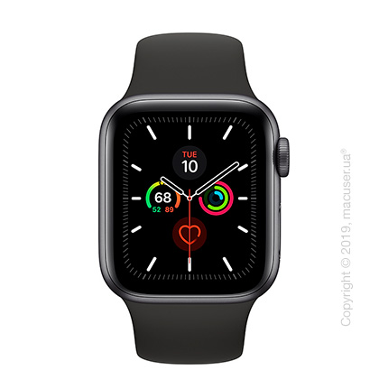 Apple Watch Series 5 GPS, 40mm Space Gray Aluminum Case with Black Sport Band