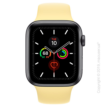 Apple Watch Series 5 GPS, 44mm Space Gray Aluminum Case with Lemon Cream Sport Band