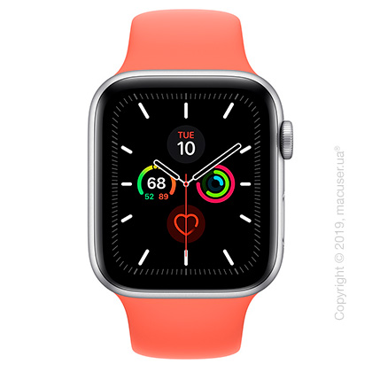 Apple Watch Series 5 GPS, 44mm Silver Aluminum Case with Clementine Sport Band