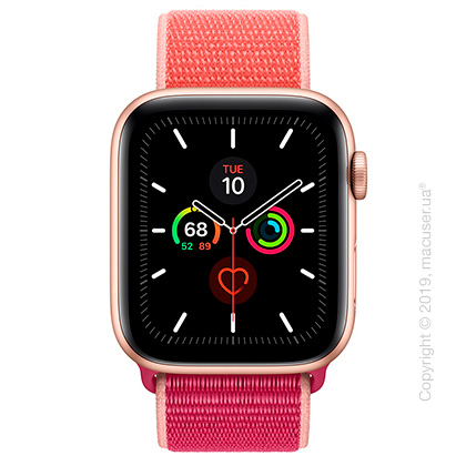 Apple Watch Series 5 GPS, 44mm Gold Aluminum Case with Pomegranate Sport Loop